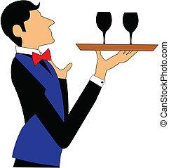 camarero, con, vino, bandeja