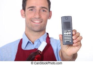 camarero de vino, actuación, teléfono móvil