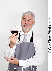 camarero de vino, posición, blanco, plano de fondo