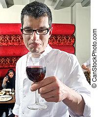 camarero de vino, saborear, vino