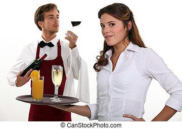camarero de vino, y, camarera