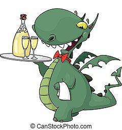 camarero, divertido, botella