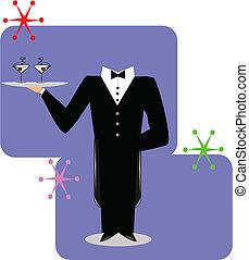 camarero, en, formal, esmoquin, traje, con