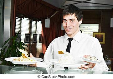 camarero, en, uniforme, en, restaurante
