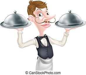 camarero, fuente, caricatura
