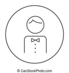 camarero, línea, icon.