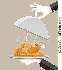 camarero, mano, con, plata, cloche, y, pollo asado