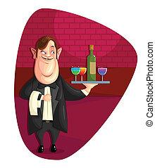 camarero, porción, bebidas