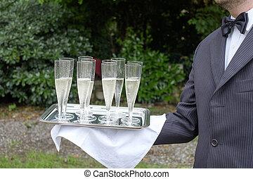 camarero, porción, champaña