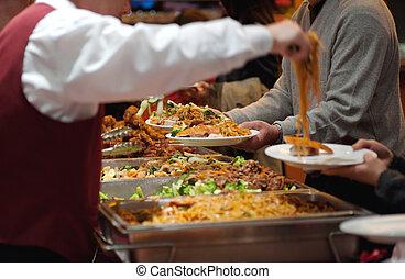 camarero, porción, chino, mein perro chino