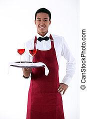 camarero, porción, dos, anteojos, vino