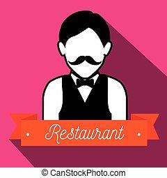 camarero, porción, restaurante, icono