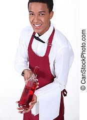 camarero, presentación, botella de vino