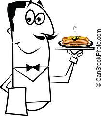 camarero, proceso de llevar, desayuno, en, bandeja