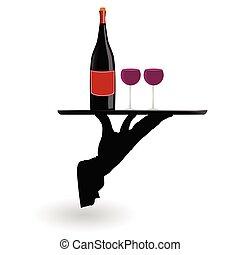 camarero, proceso de llevar, gafas vino, en, el, bandeja