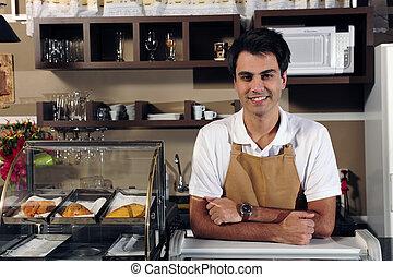 camarero, retrato, café