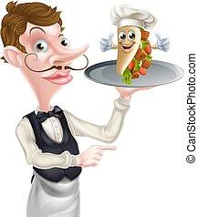camarero, señalar, tenencia, kebab, mascota