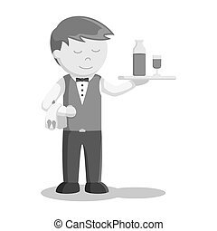 camarero, ser, porción, bebida