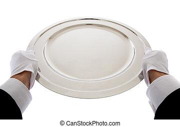 camarero, tenencia, un, bandeja de plata