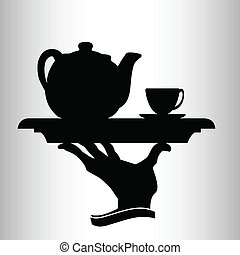 camarero, trae, vector, silueta, té