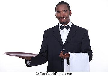 camarero, vestido, bien, negro