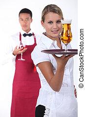 camarero, y, camarera