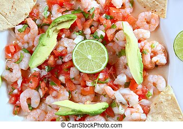 camaron shrimp ceviche raw seafood salad Mexico chili sauces