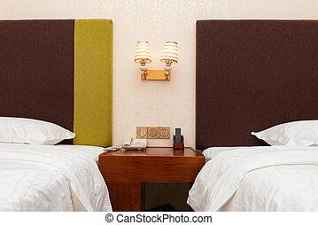 camas, fim, quarto hotel, cima