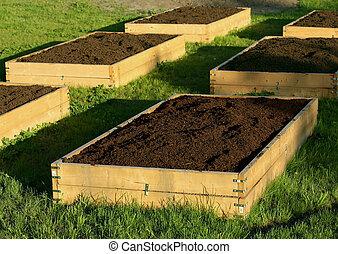 camas, jardinería, profundo