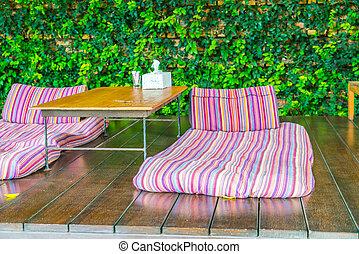 camas, relaxamento, jardim, espaço