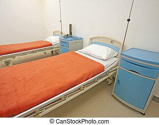 camas, sala del hospital