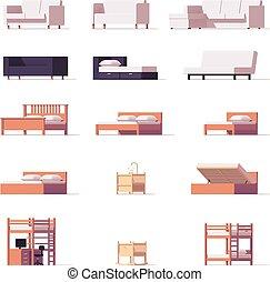 camas, sofás, vector, conjunto