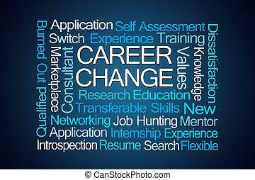 cambiamento carriera, parola, nuvola
