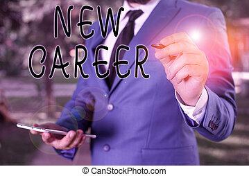 cambiamento, differente, indicare, possedere, affari, testo, uno, space., laptop, concettuale, copia, uomo affari, tipo, lei, career., penna, foto, esposizione, lavoro, nuovo, prese, scrittura, mano