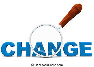 cambiamento, e, lente ingrandimento