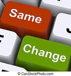 cambiamento, stesso, chiavi, mostra, decisione, e,...