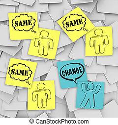 cambiamento, vs, stesso, -, note appiccicose