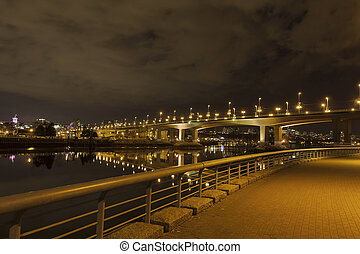 Cambie Bridge in Vancouver BC at Night