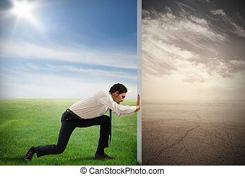 cambio, contaminación, con, verde, ambiente