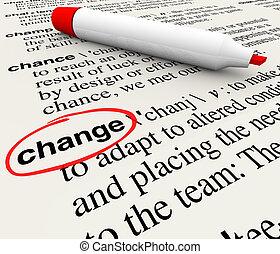 cambio, diccionario, definición, palabra, adaptar,...