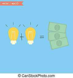 cambio, ideas, a, dinero., vector.