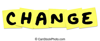 cambio, palabra, en, amarillo, notas pegajosas, adaptar, mejorar