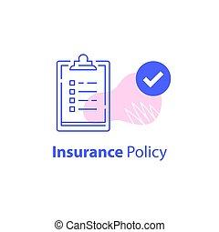 cambio, rápido, aceptar, papeleo, cheque, términos, política, contrato, cuestionario, lista, servicios, seguro, condiciones