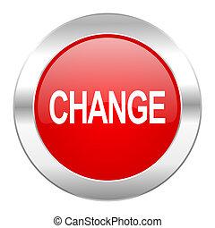 cambio, rojo, círculo, cromo, tela, icono, aislado