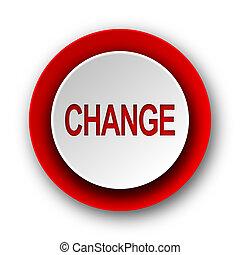 cambio, rojo, moderno, tela, icono, blanco, plano de fondo