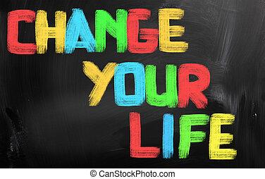 cambio, su, vida, concepto