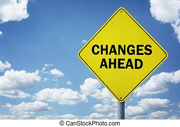 cambios, adelante, muestra del camino
