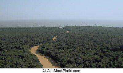 cambodge, sève, rivière, 4k, coup, pean, tonle, lac, jaune, ...