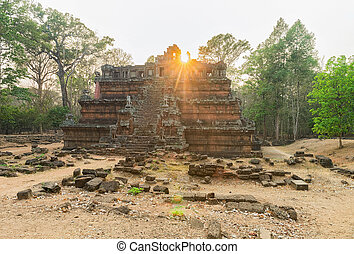 cambodge, thom, phimeanakas, complexe, siem, récolter, temple, angkor