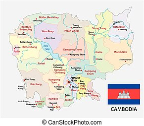 Cambodia political map with capital phnom penh and english